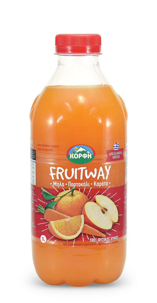 Fruitway 100% Natural apple, orange, carrot juice 1L