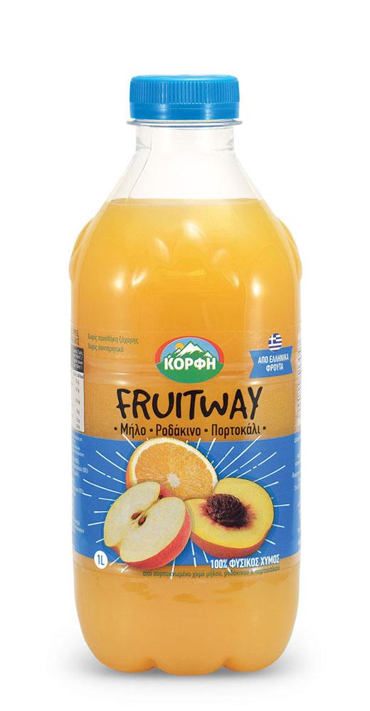Fruitway 100% Φυσικός χυμός μήλο, ροδάκινο, πορτοκάλι 1L