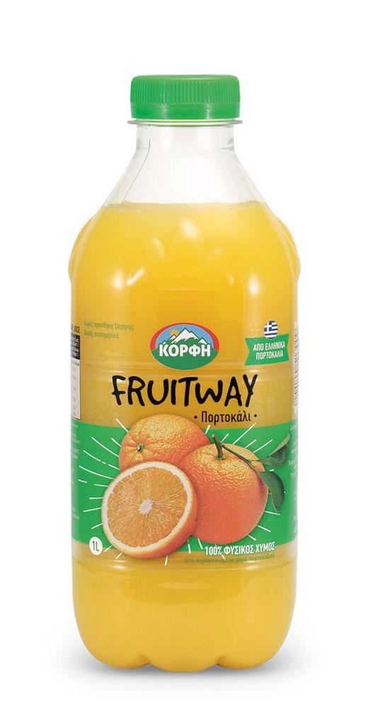 Fruitway 100% Φυσικός χυμός πορτοκάλι 1L