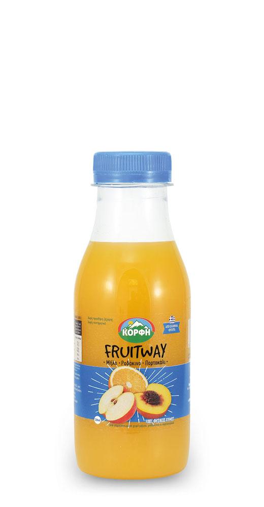 Fruitway 100% Φυσικός χυμός μήλο, ροδάκινο, πορτοκάλι 330ml