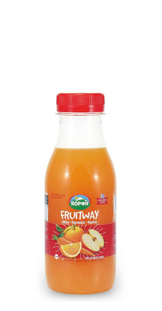 Fruitway 100% Φυσικός χυμός μήλο, πορτοκάλι, καρότο 330ml