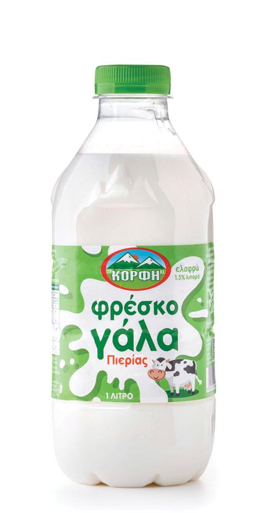 Fresh semi-skimmed milk with 1.5% fat